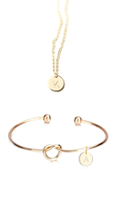 Load image into Gallery viewer, Gold Simple Letter Necklace & Bracelet Set - customxcreations