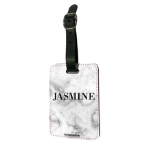 Load image into Gallery viewer, Personalised Black & White Premium Cracked Marble Luggage Tag
