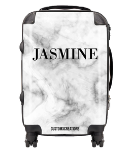 Personalised Premium Black & White Marble Suitcase