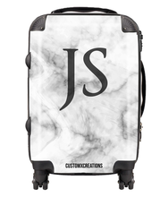 Load image into Gallery viewer, Personalised Premium Black & White Marble Suitcase