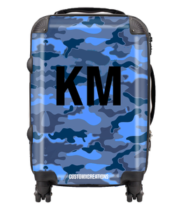 Personalised Blue Camo Suitcase