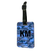 Load image into Gallery viewer, Personalised Blue Camo Luggage Tag
