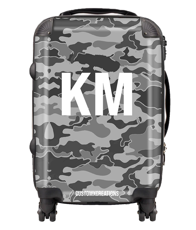 Personalised Grey Camo Suitcase