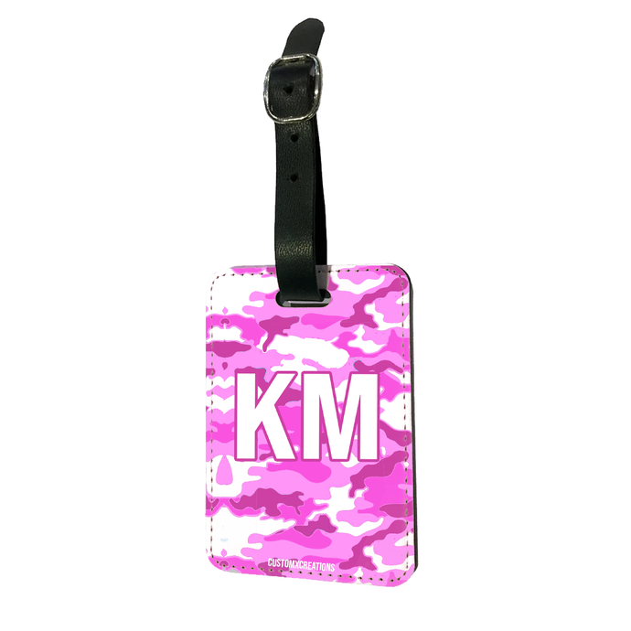 Personalised Pink Camo Luggage Tag-customxcreations