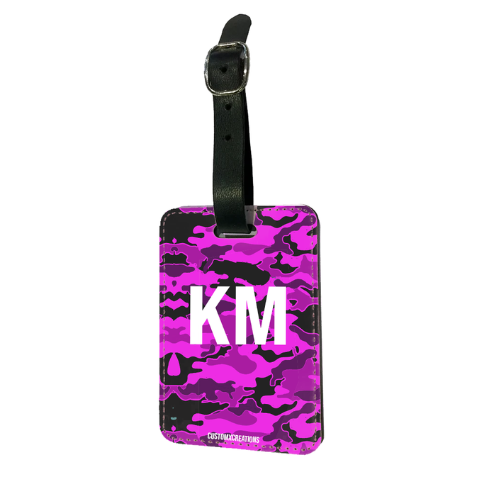 Personalised Violet Camo Luggage Tag-customxcreations