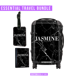 Essential Travel Bundle | Personalised Black Cracked Marble-customxcreations