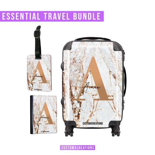 Essential Travel Bundle | Personalised White Gold Cracked Marble-customxcreations