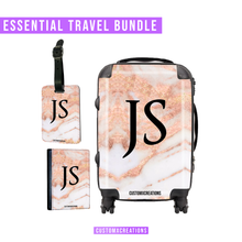 Load image into Gallery viewer, Essential Travel Bundle | Personalised Rose Gold Cracked Marble-customxcreations