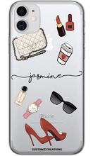 Load image into Gallery viewer, Personalised Clear FASHION 'Glam' iPhone 11 Case - customxcreations
