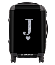 Load image into Gallery viewer, Personalised Black Glamorous Glitter Suitcase-customxcreations