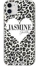 Load image into Gallery viewer, Personalised White Leopard Print & Heart iPhone 11 Case - customxcreations