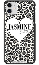 Load image into Gallery viewer, Personalised White Leopard Print & Heart iPhone 11 Case-customxcreations