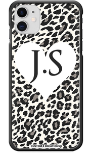 Personalised White Leopard Print & Heart iPhone 11 Case - customxcreations