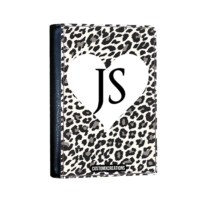 Personalised White Leopard Print Passport Cover-customxcreations