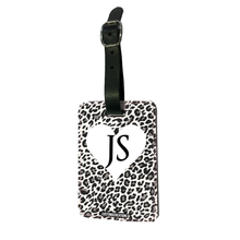 Load image into Gallery viewer, Personalised White Leopard Print Luggage Tag-customxcreations