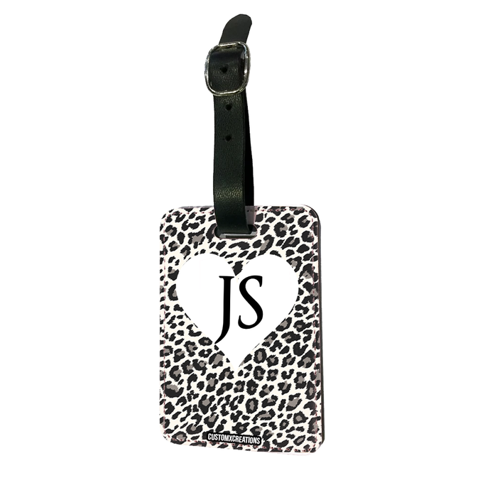 Personalised White Leopard Print Luggage Tag-customxcreations
