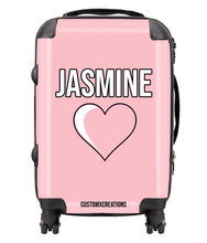 Load image into Gallery viewer, Personalised Pink Love Suitcase-customxcreations