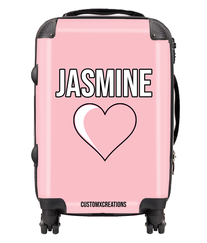 Personalised Pink Love Suitcase-customxcreations