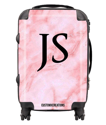 Personalised Pink Marble Suitcase-customxcreations