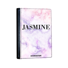 Load image into Gallery viewer, Personalised Pink & Purple Marble Passport Cover