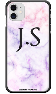 Personalised Pink & Purple Marble iPhone 11 Case-customxcreations