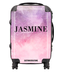 Personalised Tie Dye Pink & Purple Suitcase