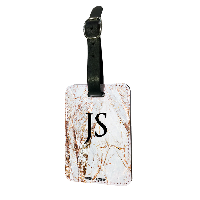 Personalised Premium Gold Cracked Marble Luggage Tag-customxcreations