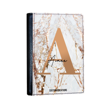 Load image into Gallery viewer, Personalised White Gold Cracked Marble Letter Passport Cover-customxcreations
