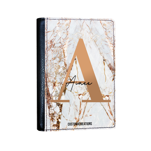 Personalised White Gold Cracked Marble Letter Passport Cover-customxcreations