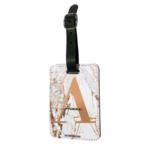 Personalised White Gold Cracked Marble Letter Luggage Tag