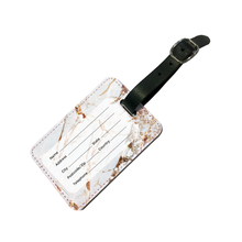 Load image into Gallery viewer, Personalised White Gold Cracked Marble Letter Luggage Tag
