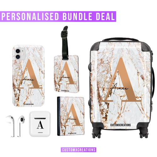 Ultimate Travel Bundle | Personalised White Gold Cracked Marble-customxcreations