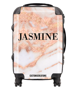 Personalised Rose Gold Cracked Marble Suitcase