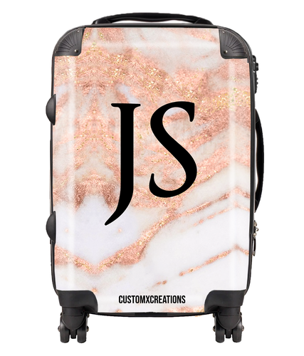 Personalised Rose Gold Cracked Marble Suitcase-customxcreations