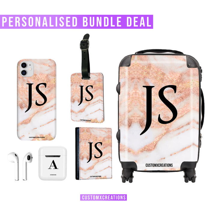 Ultimate Travel Bundle | Personalised Rose Gold Cracked Marble-customxcreations