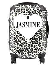 Load image into Gallery viewer, Personalised White Leopard Suitcase-customxcreations