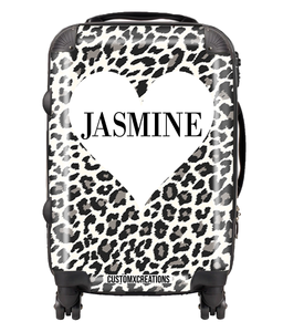 Personalised White Leopard Suitcase