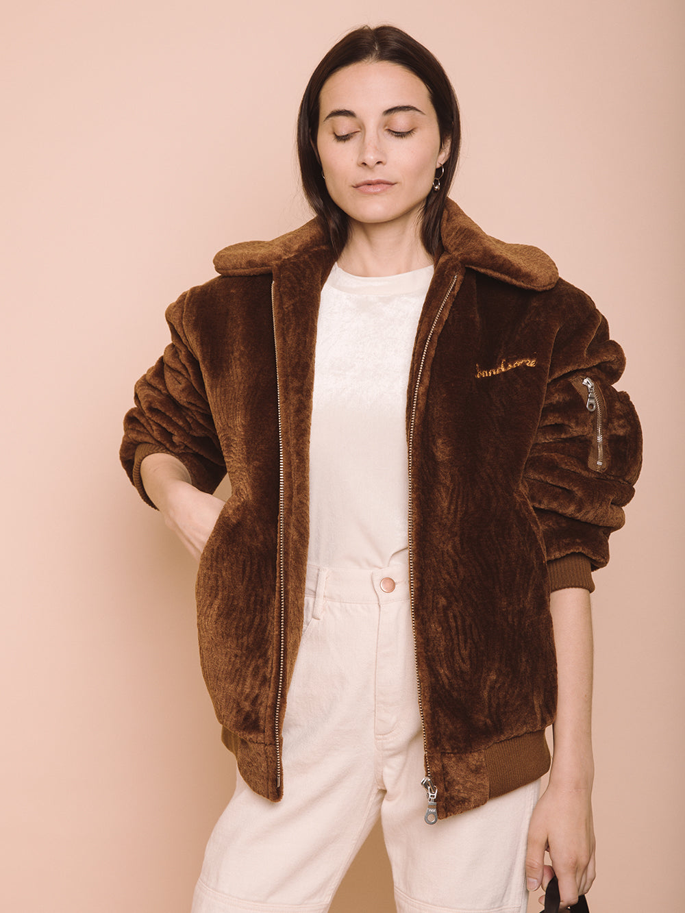 B-15 Flight Faux Fur Bomber