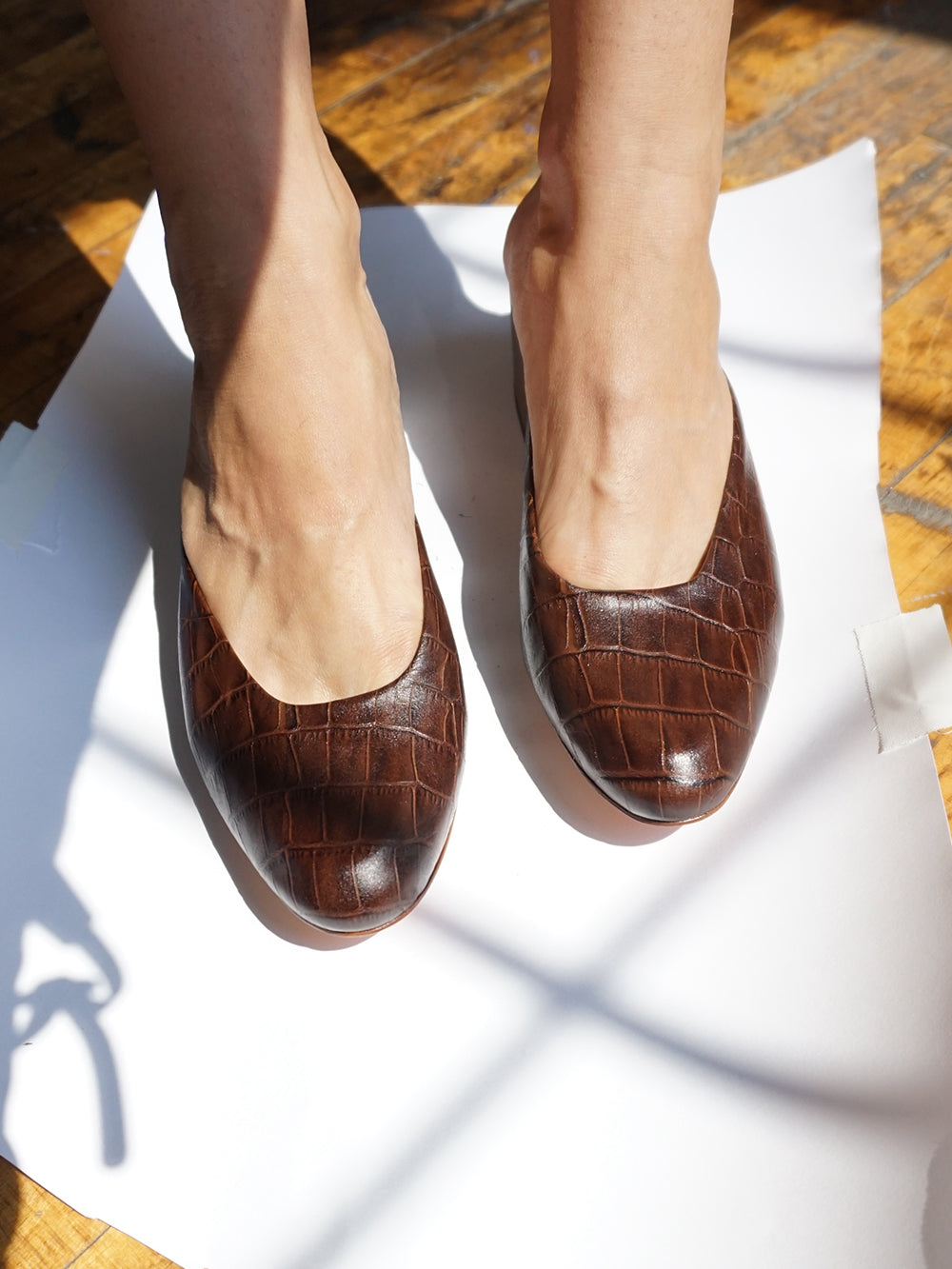 CALF LINING AND ROUND TOE LEATHER MULE