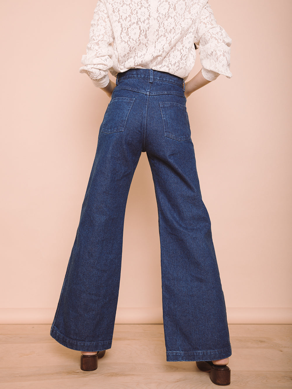 NELLIE WIDE LEG BLUE JEANS HIGHWAISTED