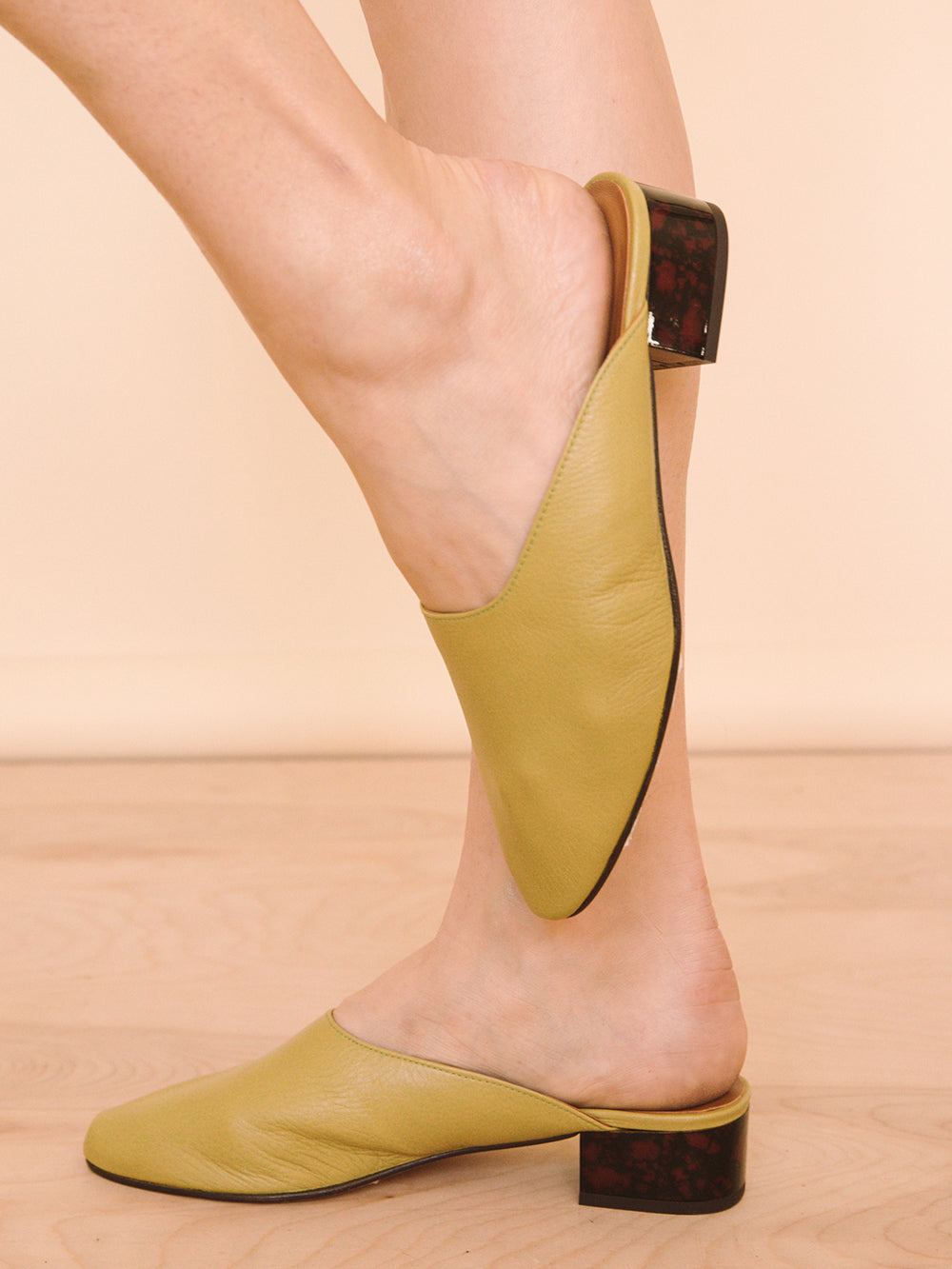 Pia Mules in Dark Yellow