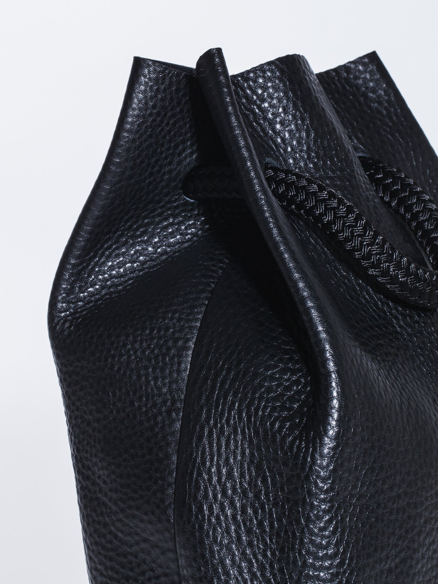 The Stowe Francis Backpack Pebbled Leather Side Detail
