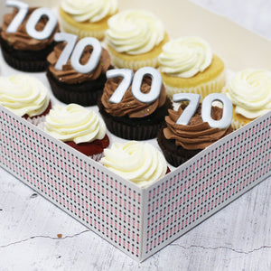 70th Birthday Cupcakes in SILVER