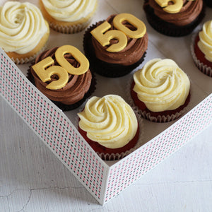 50th Birthday Cupcakes in GOLD