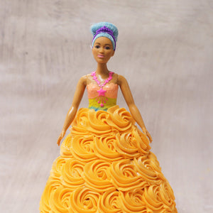 Orange Swirl Barbie Doll Cake