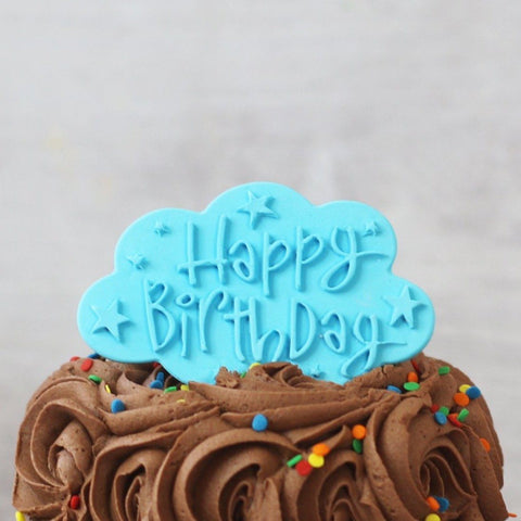 Blue Happy Birthday Cake Plaque