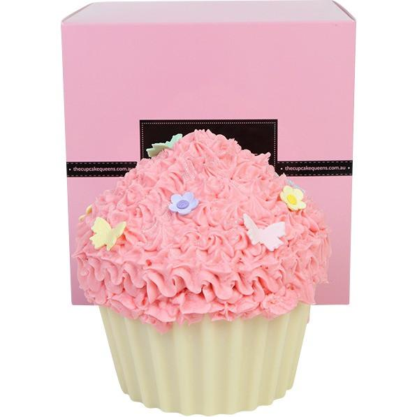 Pink Vanilla Giant Cupcake With Butterflies And Blossom Flowers