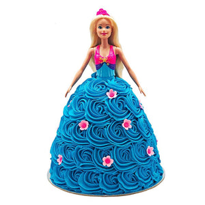 Barbie Blue Flower Dress Doll Cake