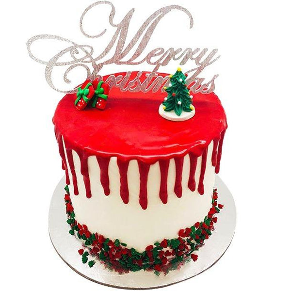 Christmas Cake Red Drip - 6 Inch