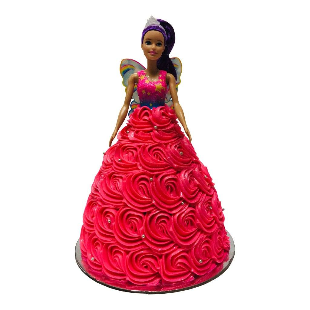Hot Pink Swirl Fairy Barbie Doll Cake